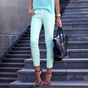 ☀️ Zara Mint Green Skinny Jeans